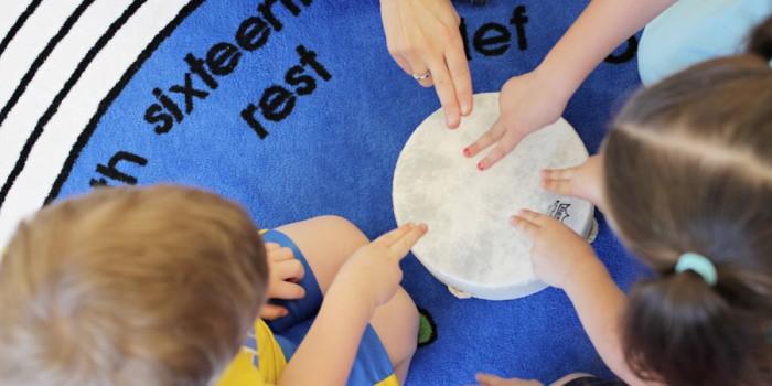 Kindermusik class drum exploration